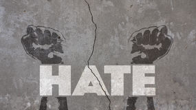 stock image of  hate written on a cracked wall
