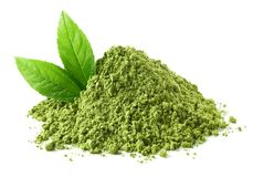 stock image of  heap of green matcha tea powder and leaves