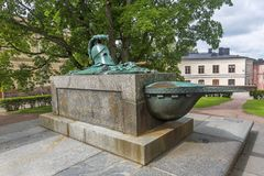 stock image of  monumental grave of constructor in the suomenlinna fortress in h