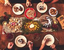 stock image of  high angle view of table served for christmas family dinner. tab