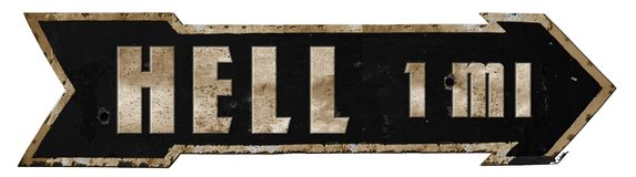 stock image of  highway to hell road sign metal grunge arrow