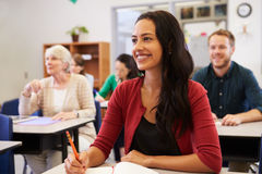 stock image of  hispanic woman studying at adult education class looking up