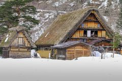 stock image of  the historic villages of shirakawa-go in winter , a world cultural heritage site in gifu prefecture, japan.