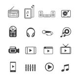 stock image of  home entertainment and electronic devices icons set