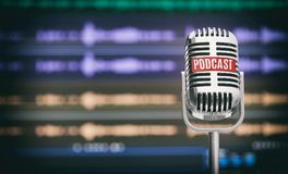 stock image of  home podcast studio. microphone with a podcast icon