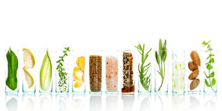 stock image of  homemade skin care and body scrubs with natural ingredients aloe