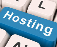 stock image of  hosting key means host or entertain
