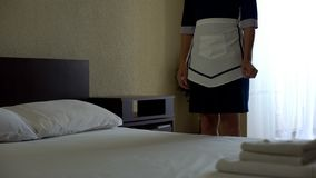 stock image of  hotel room service, work for migrants, professional chambermaid, horeca business