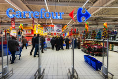 stock image of  hotos at hypermarket carrefour grand oppening in galati