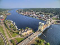 stock image of  houghton and it`s lift bridge and located in the upper peninsula of michigan