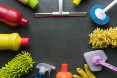 stock image of  house cleaning product on black background