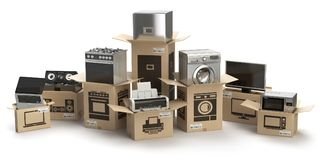 stock image of  household kitchen appliances and home electronics in boxes isolated on white. e-commerce, internet online shopping and delivery c