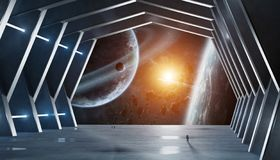 stock image of  huge hall spaceship interior 3d rendering elements of this image