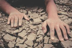 stock image of  human hands on cracked dry ground