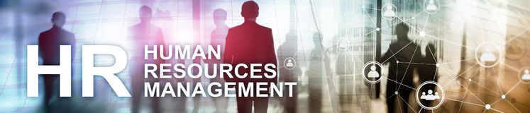 stock image of  human resource management, hr, team building and recruitment concept on blurred background. website header banner