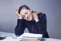 stock image of  i hate my office work. office hell. woman going crazy with work