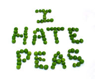 stock image of  i hate peas