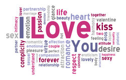 stock image of  i love you word cloud