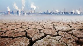 stock image of  impact of industrial development on the environment