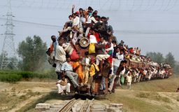 stock image of  indian rail passengers.