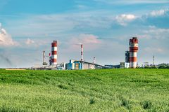 stock image of  industrial landscape environmental pollution waste of thermal power plant. big pipes of chemical industry enterprise plant