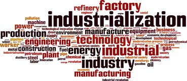 stock image of  industrialization word cloud