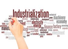 stock image of  industrialization word cloud hand writing concept