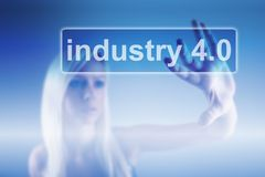 stock image of  industry 4.0 concept, woman and robot background
