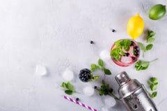 imagine stock despre  ingrediente pentru face limonadă cocktailuri alte băuturi cu afine un gri fundal