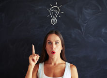 stock image of  inspired face of young woman having brainstorm