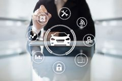 stock image of  intelligent car, ai vehicle, smart card. symbol of the car and icon. modern wireless communication and iot concept.