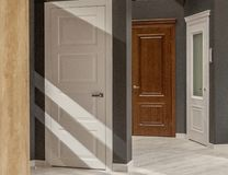 stock image of  interior doors for sale in a specialized store