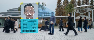 stock image of  iot machine learning with human and object recognition which use artificial intelligence to measurements ,analytic and identical c