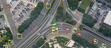 stock image of  iot machine learning with speed car and object recognition which use artificial intelligence to measurements ,analytic and identic
