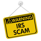 stock image of  irs scam warning sign