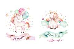 stock image of  isolated cute watercolor unicorn clipart. nursery unicorns illustration. princess rainbow unicorns poster. trendy pink