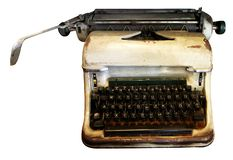 stock image of  isolated typewriter, antique typewriter, analog equipment