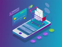 stock image of  isometric smart phone online shopping concept. online store, shopping cart icon. ecommerce