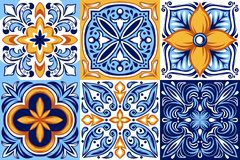 stock image of  italian ceramic tile pattern. ethnic folk ornament.