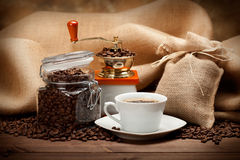 stock image of  jar of coffee and coffee cup
