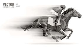 stock image of  jockey on racing horse. champion. hippodrome. racetrack. horse riding. vector illustration. derby. speed. blurred