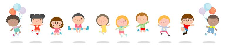 stock image of  kids jumping with joy , happy jumping childern, happy cartoon child playing on white background , vector illustration.