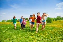 stock image of  kids racing