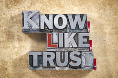 stock image of  know,like, trust words