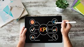 stock image of  kpi key performance indicator. industrial manufacturing business marketing strategy concept.
