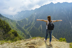 stock image of  lady tourist with backpack