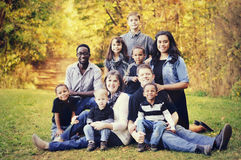 stock image of  large multi racial family