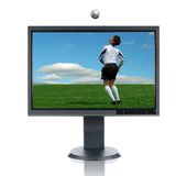 stock image of  lcd monitor and soccer player