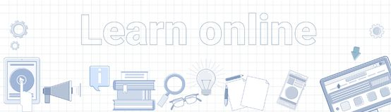 stock image of  learn online word on squared background horizontal banner elearning education concept