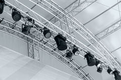 stock image of  led lighting devices under roof. entertainment concert lighting.